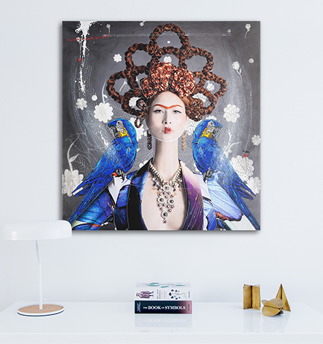 Efren Isaza: Ginger Haired Frida with Blue Macaws