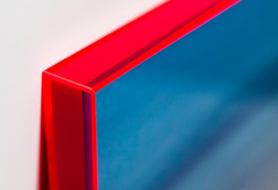 A close-up of the neon acrylic frame