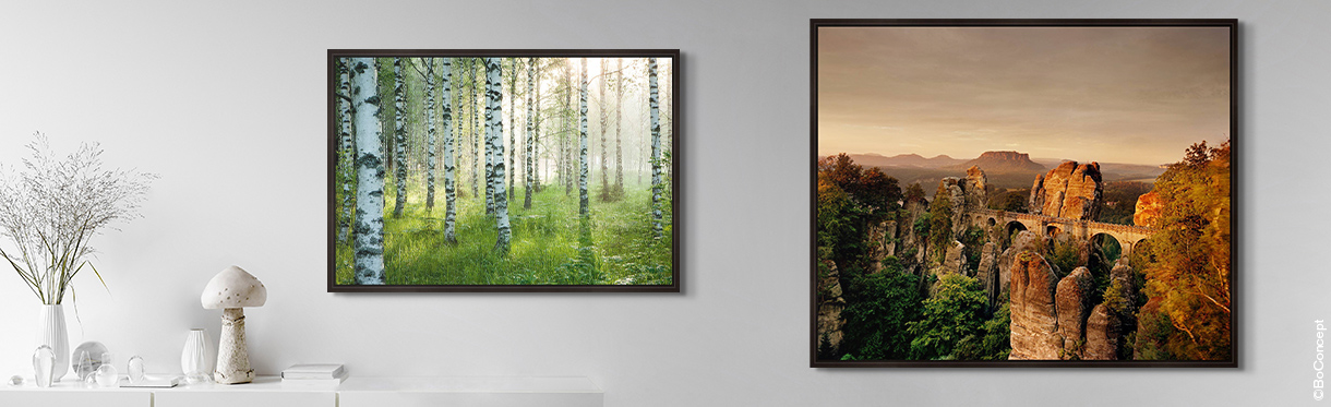 Landscape Art Prints Hung on a Wall