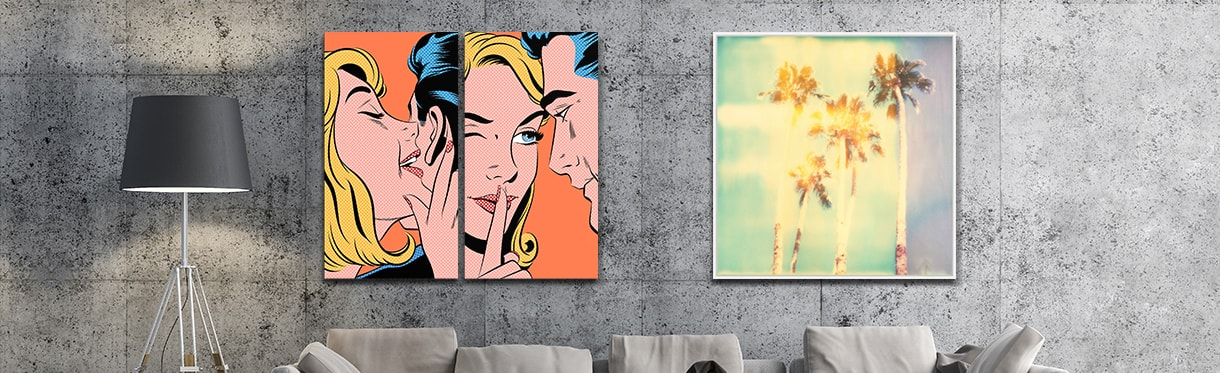 pop artwork by Joe McDermott and Stefanie Schneider on a home wall