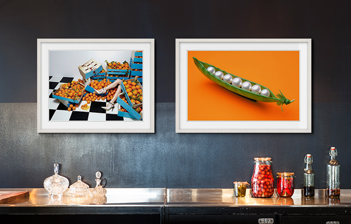 Kitchen Art:Lost in the Supermarket by Catherine Losing and Pearls in a Pod by James Wojcik