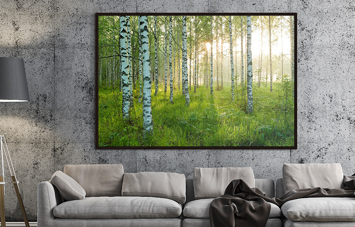 large print by André Wagner on a living room wall
