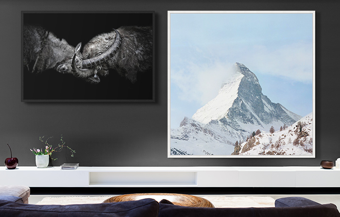 artworks by Claudio Gotsch and Stephanie Kloss on a living room wall