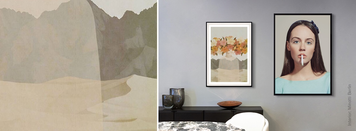 Artworks by Jiwoon Pak and Emmanuelle Descraues on a home wall