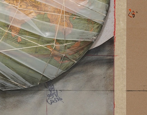 Closeup of Wrapped Globe by Christo
