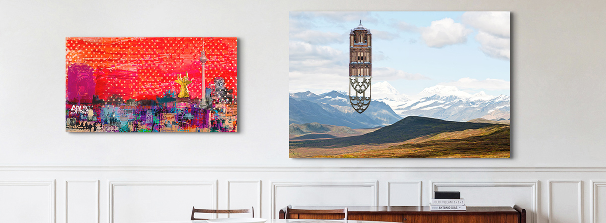 Mixed-media artworks by Matthias Jung and Sandra Rauch on a home wall