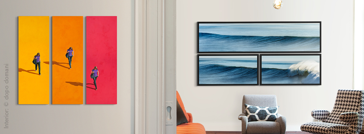 Multi piece artworks by Wolfgang Uhlig and Michael Kaspar on a home wall