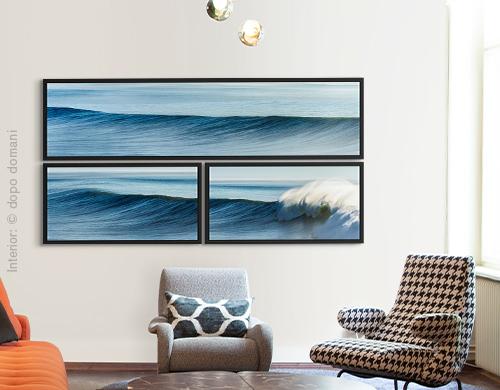 Multi piece artworks by Michael Kaspar on a home wall