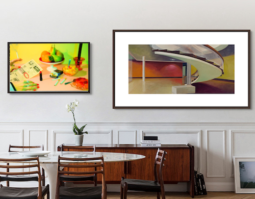Artworks by Sonja J. and Michael Kasper on a home wall