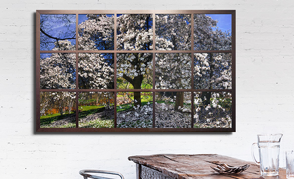 The unique frame transforms your wall into a window to another world.