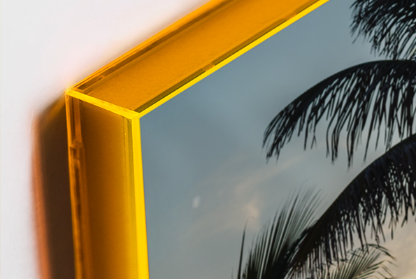 Luminous neon orange frame