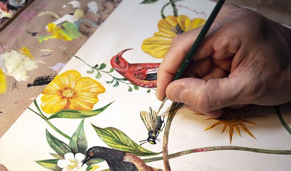 Artist Olaf Hajek at work